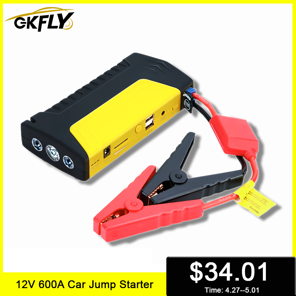 GKFLY Starting Device 12V 600A Car Jump Starter Power Bank Quick Starting Car Charger Booster Jumper Cables Auto Start Battery