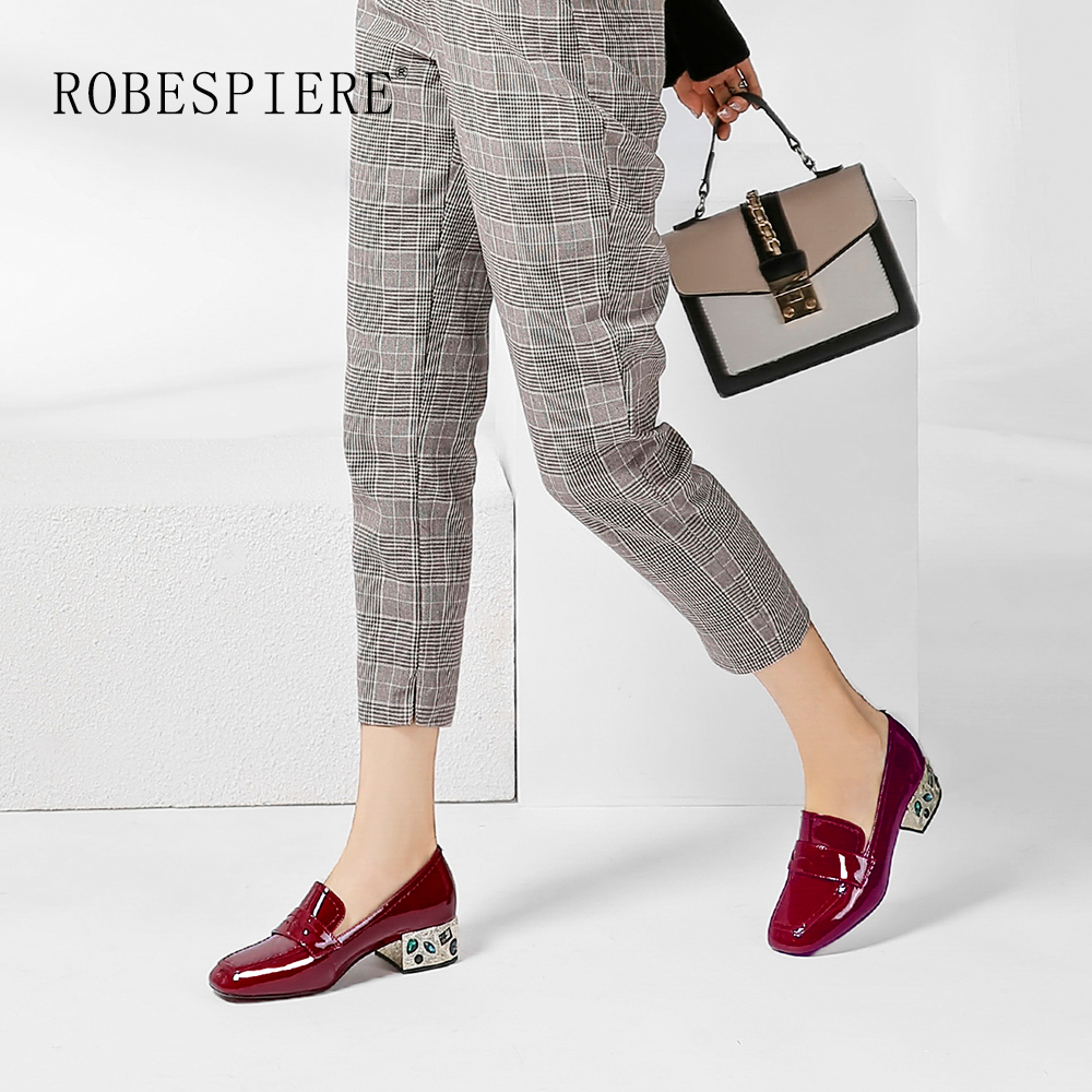 ROBESPIERE New Casual Pumps Fashion Colorful Square Heel Quality Genuine Leather Slip-On Shoes Elegant Red Black Women A10