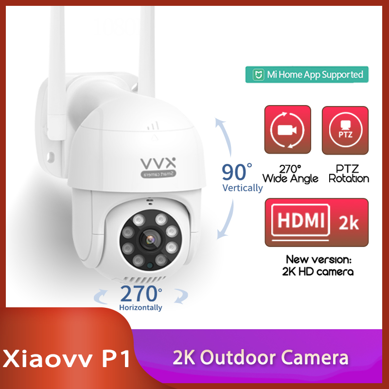 Xiaovv P1 IP Camera PTZ Action Camera IP65 Infrared 8 Night Vision Rotation 2K HD Image Quality Lights Stand By Mi Home App