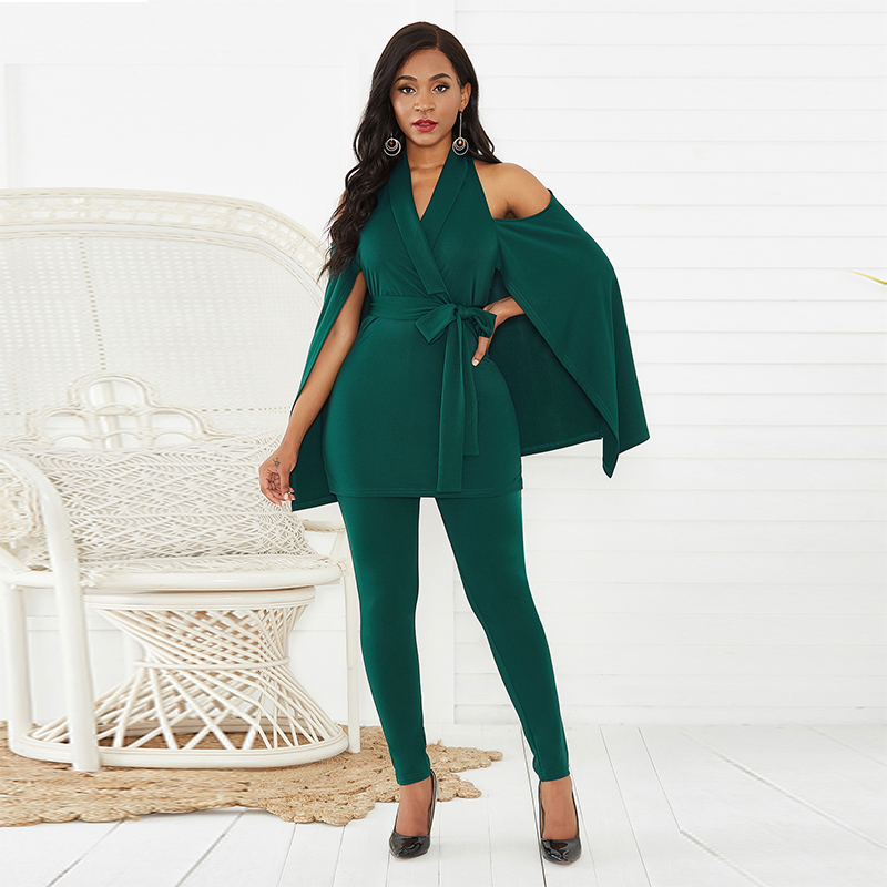 Women Romper V Neck Sexy Slim Jumpsuit With Capes Skinny Long Pant Bandage Jumpsuits OL Rompers For Female Spring Autumn Clothes