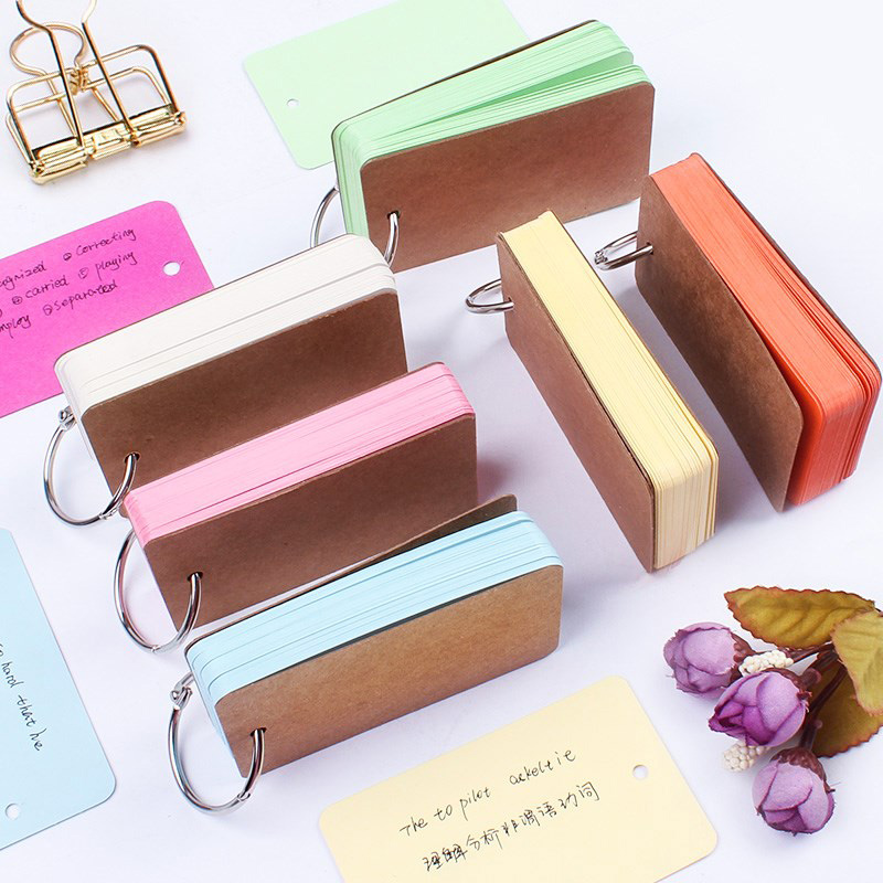 Portable Buckle Binder Notes Flash Cards Memo Pads DIY Blank Card Stationery TP899