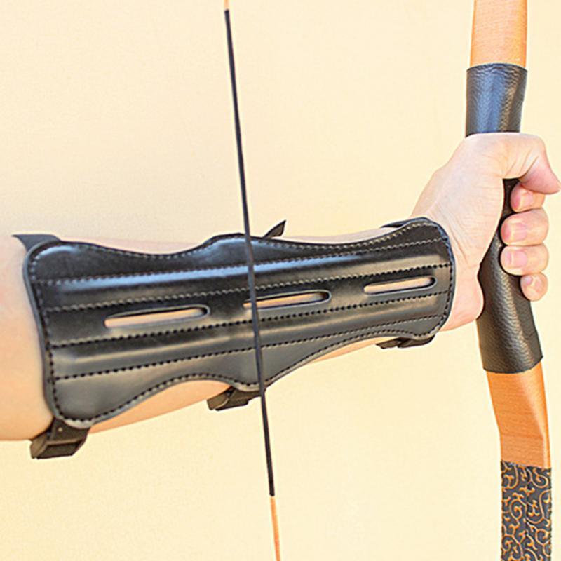 Archery PU Leather Arm Guard Adjustable Elastic 4-Straps Arm Protective Gear