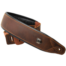 Soldier Top Grain Leather Cowhide  Padded Guitar Strap for Electric Bass Guitar Adjustable Belt