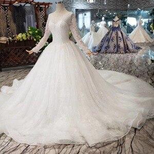 Image 3 - BGW HT5619 Suknia Slubna فساتين زفاف مصنوعة يدويا الثقيلة بأكمام طويلة على شكل حرف o مشد ثوب زفاف 2020 جديد