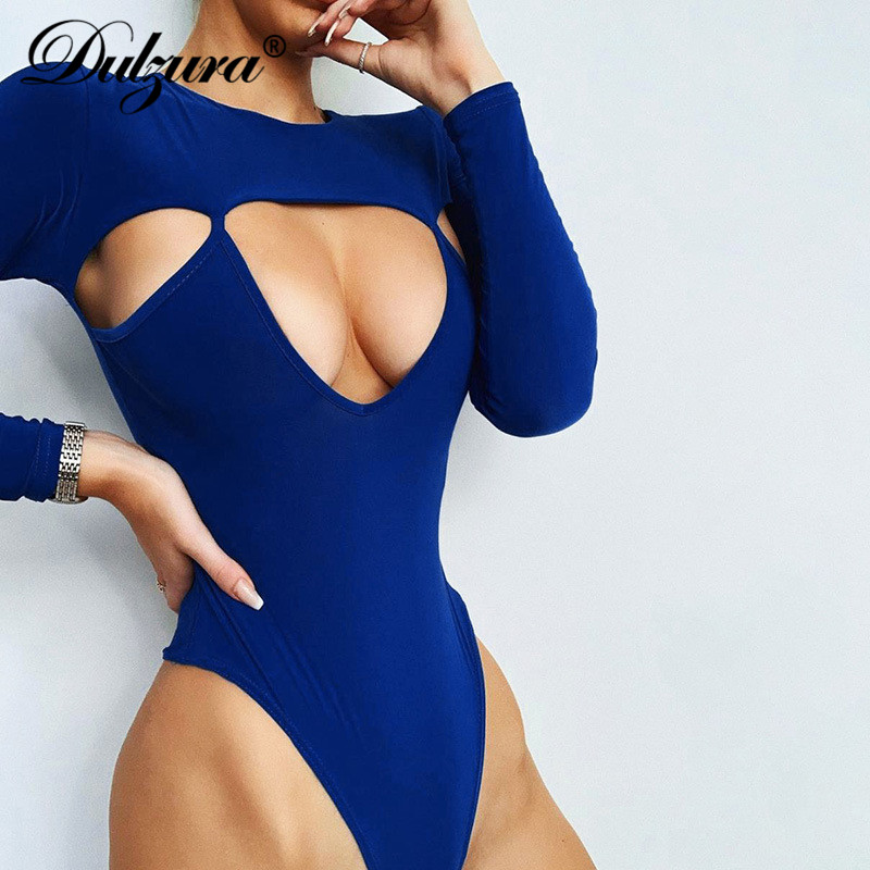 Dulzura 2019 Autumn Winter Women Bodysuit Hollow Out Long Sleeve Bodycon Sexy Streetwear Festival Clothing Body Romper One Piece