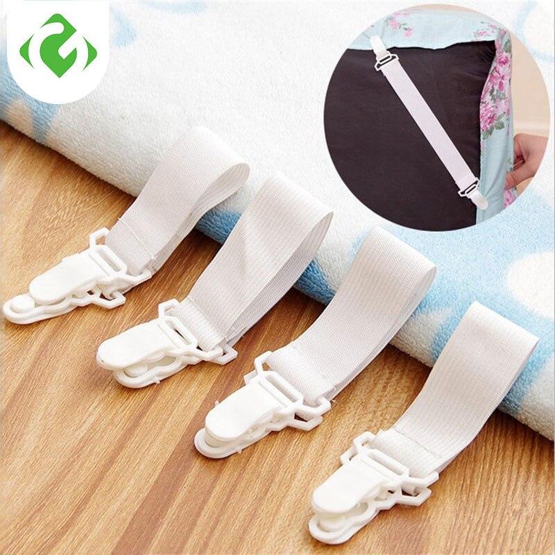 4 Pcs White Bed Sheet Mattress Cover Blankets Grippers Clip Holder Fasteners Elastic Set Fixing Slip-Resistant Belt  Elastic