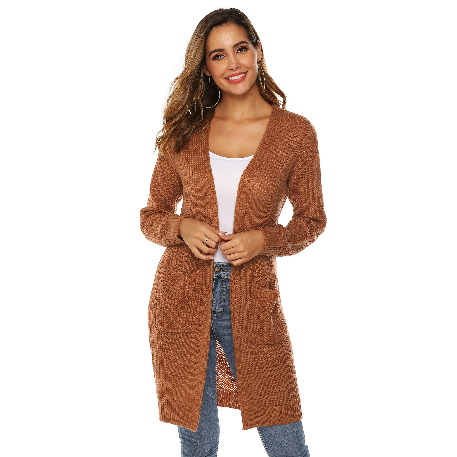 WOMEN'S Autumn And Winter Coat Irregular Solid Color Large Pocket Sweater Cardigan Middle Long Over-the-knee Thin Overcoat