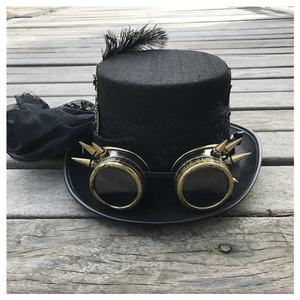 Image 3 - 2019 Fashion Women Handmade Steampunk Top Hat With Gear Glasses and Lace Stage Magic Hat Party Hat Size 57CM Steampunk Hat