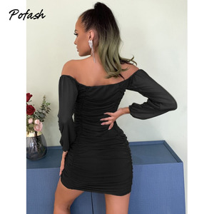 Image 2 - Pofash Ruched Off Shoulder Autumn Dresses Women Sexy V Neck Backless Drawstring Puff Sleeves Mini Dress 2020 Solid Bodycon Dress