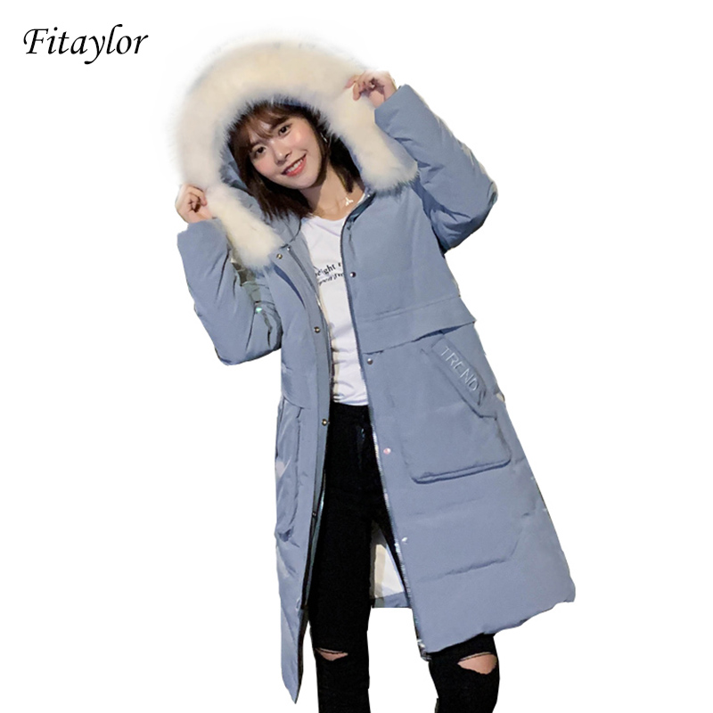 Fitaylor Winter Women Large Fur Collar Hooded Long White Duck Down Parkas Casual Female Snow Warm Thick Coat Windproof Outwear