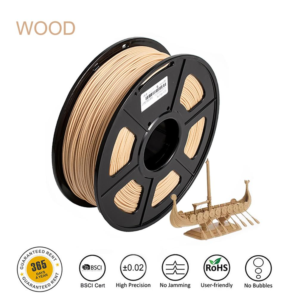 3D Printer Filament Wood Fast Delivery Wood Texture PLA 1kg 1.75mm Tolerance +/-0.02mm Non-toxic Printing Material for Artwork