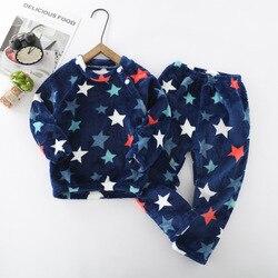 2021 Winter Kids Pajamas Sets Warm Pyjamas Boys Girls Sleepwear Flannel Fleece Baby Underwear Toddler Child Home Clothes Suit