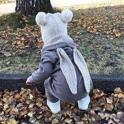 Весенне-осенняя одежда для новорожденных девочек и мальчиков с милым Кроликом, хлопковая трикотажная толстовка с капюшоном, Детский комбин...