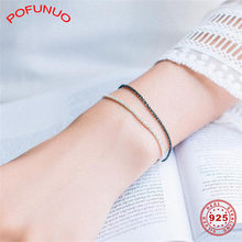 POFUNUO 925 Sterling Silver Bracelets For Lovers Day And Night Design Couples Close Friend Gifts Bracelets Students Fine Jewelry(China)