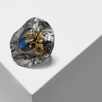 Local focal Vintage 925 Silver inlaid semi precious stone labradorite Rings
