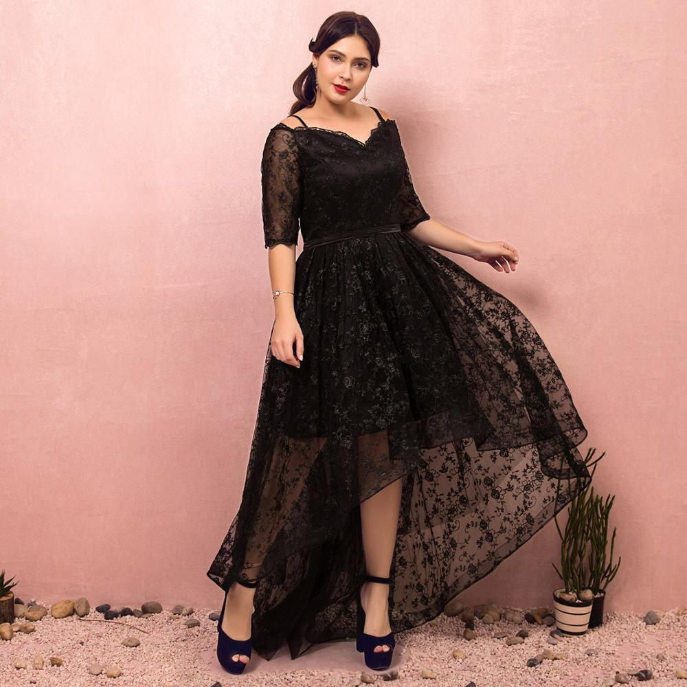 Evening Dresses 2019 Fashion A-line V-neck Natural Asymmetrical Lace-up Llusion Party Gown