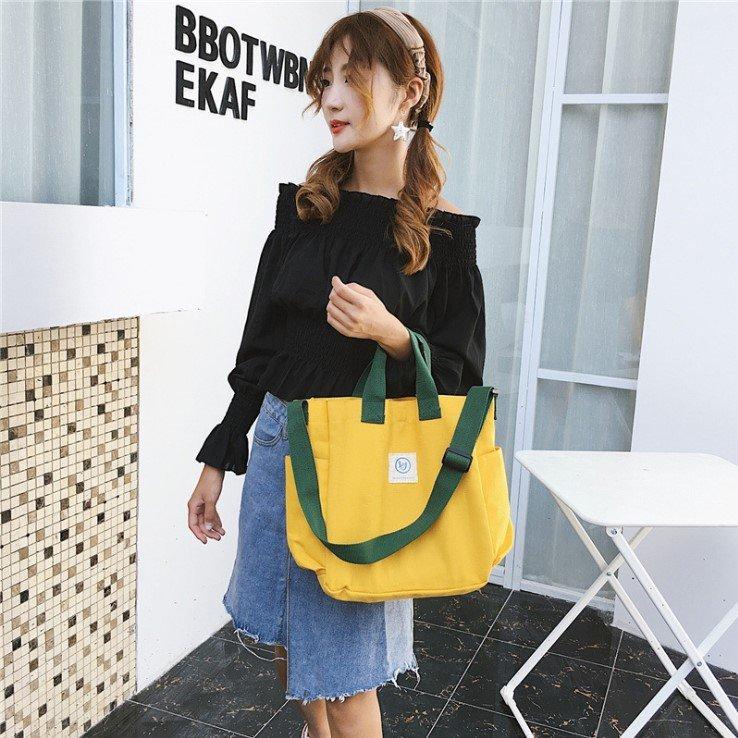 2020 New Style Toth Canvas Bag WOMEN'S Bag Fashion Korean-style WOMEN'S Bag Simple One-Shoulder Oblique Bag Handbag Bag(China)