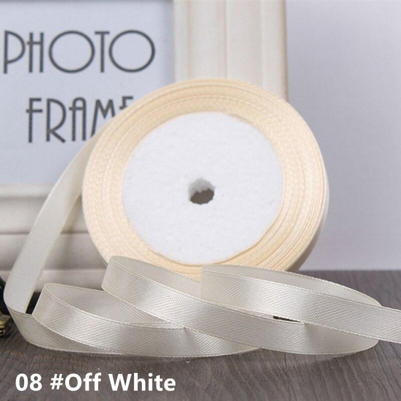 25 ярдов/рулон 6 мм 10 мм 15 мм 20 мм 25 мм 40 мм 50 мм шелковые атласные ленты для рукоделия бант ручной работы подарочная упаковка вечерние свадебные декоративные - Цвет: 08 cream