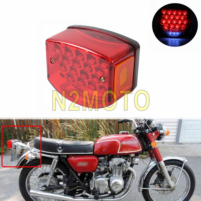 12V Red LED Motorcycle Taillights License Plate Light Tail Brake Stop Lamp For Minsk 125 Cc Carpathians 50cc