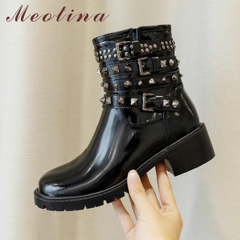 Meotina Autumn Motorcycle Boots Women Patent Leather Zipper Thick Heel Ankle Boots Rivets Buckle Round Toe Shoes Lady Size 34-39