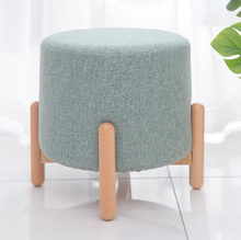 Modern Round Stools Upholstered Footstool пуфик pouf for Living Rome Sofa Fabric Ottomans Chairs taburete(China)