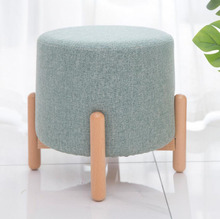 Modern Round Stools Upholstered Footstool for Living Rome Sofa Fabric Ottomans Chairs