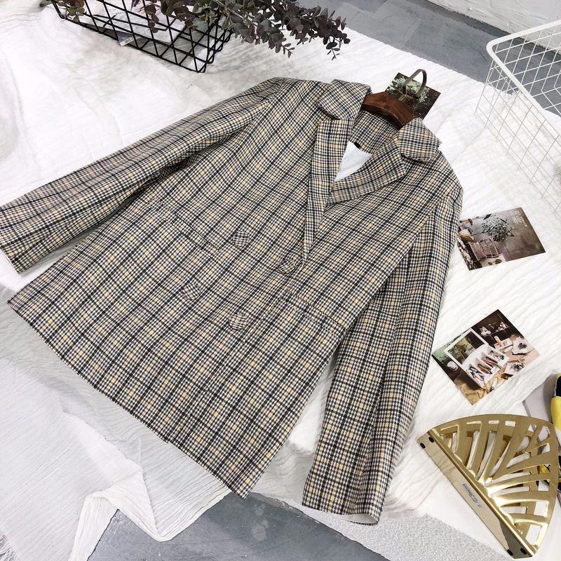 High quality ladies blazer feminine jacket Casual Double Breasted Loose Plaid Ladies Small Suit Coat Elegant women's clothing