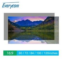 Everycomโปรเจคเตอร์หน้าจอสะท้อนแสงเพิ่มความสว่าง60 100 120นิ้วผ้าผ้าหน้าจอโปรเจคเตอร์แบบพกพาสำหรับโปรเจคเตอร์