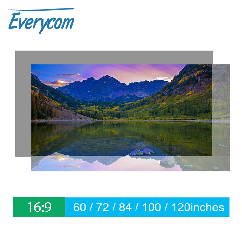 Everycom Projector Screen Reflective Enhance Brightness <font><b>60</b></font> <font><b>100</b></font> 120inch Fabric Cloth Projection Screen Portable for all Projector image
