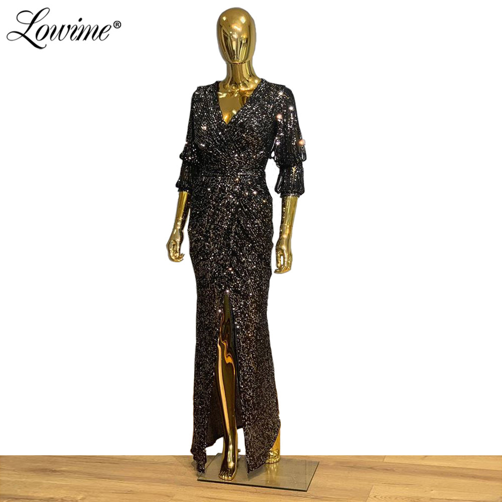 Vestidos De Fiesta De Noche Black Silver V Neck Evening Dresses Sequin Kaftan Women Party Dress 2020 Front Split Slit Prom Gown