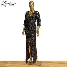 Vestidos De Fiesta De Noche Schwarz Silber V ausschnitt Abendkleider Pailletten Kaftan Frauen Party Kleid 2020 Vor Split Schlitz abendkleid