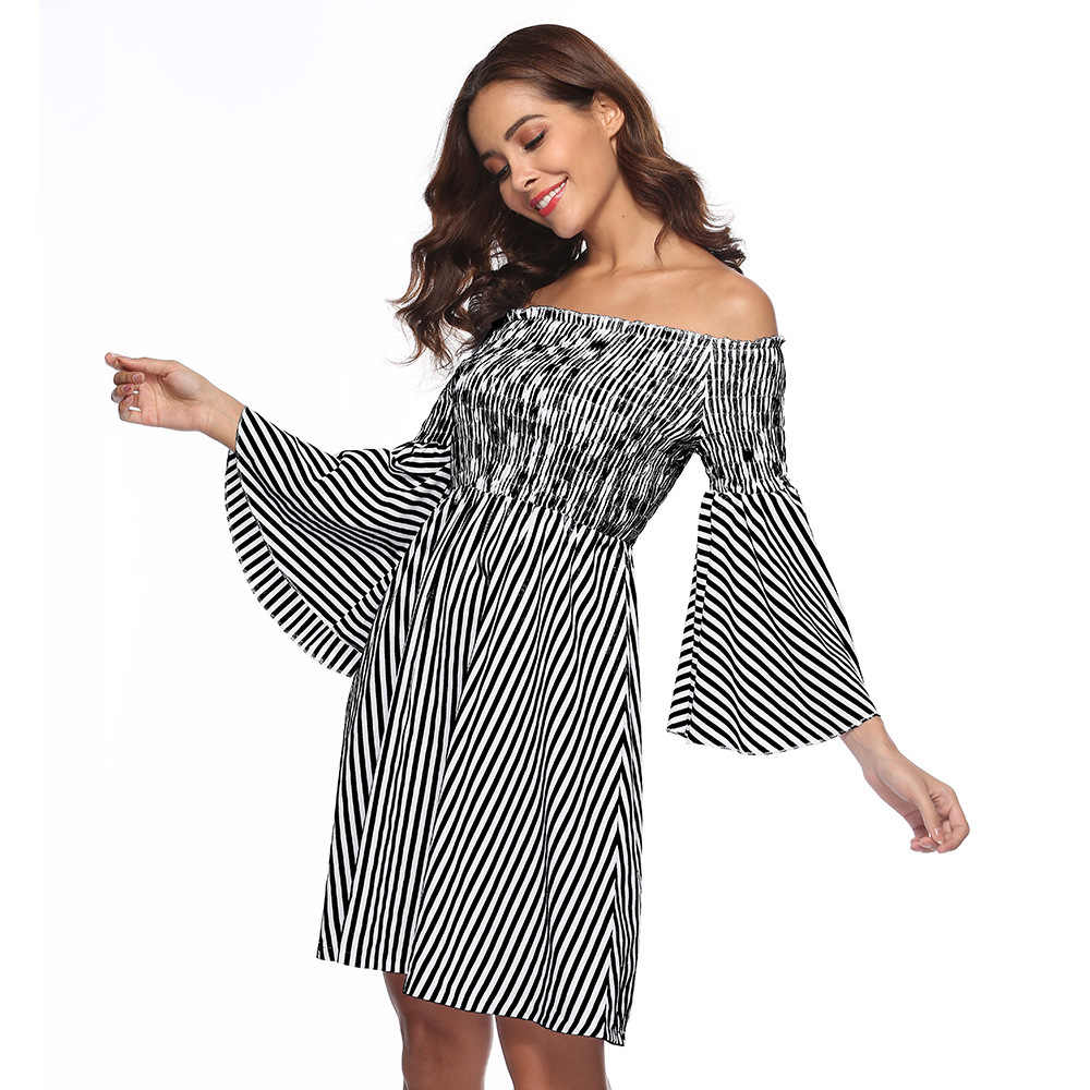 Sexy Off Schulter Party Mini Kleider Elegante Vintage Streifen Laterne Langarm Sommer Urlaub Stil Strand Boho Kleid Vestidos