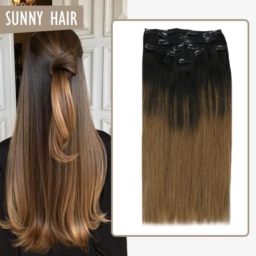 VeSunny Clip On Hair Extensions Human Hair Double Weft 7pcs Clip In Extensions Balayage Ombre Natural Black To Brown #1B/6 120gr