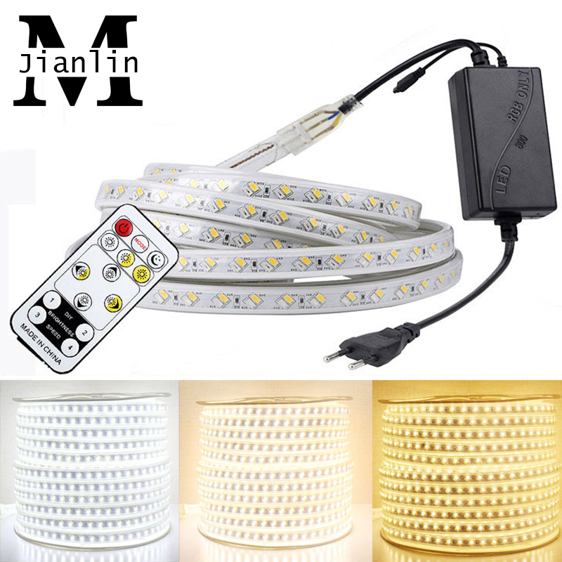 AC 220V LED Strip SMD 5630 Warm White + White IP67 Waterproof Outdoor Use Flexible LED Soft Light Strip Dimmable With Remote