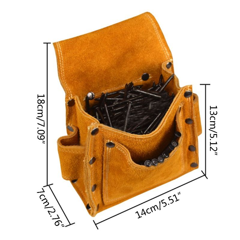 Electrician Waist Tool Belt Pouch Bag Screwdriver Kit Repair Tool Holder Leather 649E