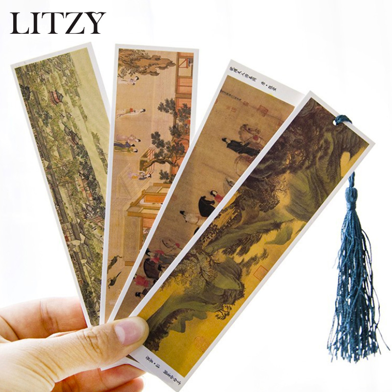 30pcs/lot Ancient Chinese Painting Bookmarks Paper Clip For Book Korean Funny Kawaii Gift Office School Supply Stationery