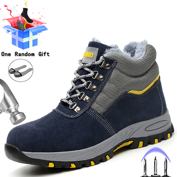Buty do pracy mężczyźni pluszowe ciepłe bezpieczeństwo pracy buty niezniszczalne buty ochronne męskie buty zimowe buty antyprzebiciowe buty robocze stalowe buty z palcami tanie i dobre opinie MJYTHF Pracy i bezpieczeństwa CN (pochodzenie) Krowa Zamszu ANKLE Stałe Dla dorosłych Plush Futro Okrągły nosek RUBBER