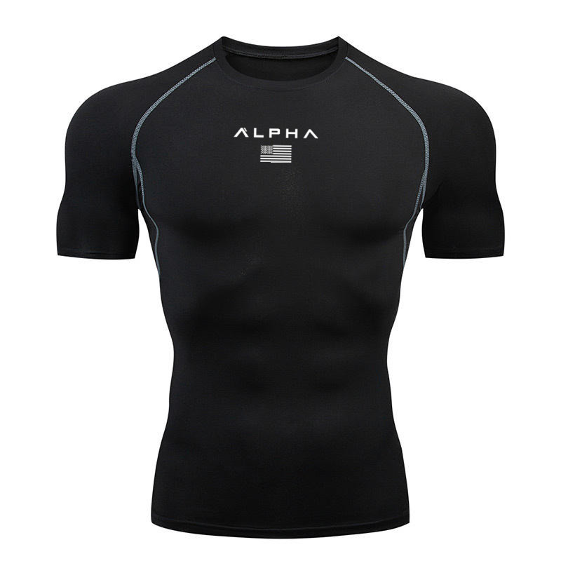 2020 men's fitness sports t-shirt short-sleeved jogging shirt men training tshirts tops sports compression quick-drying t shirt