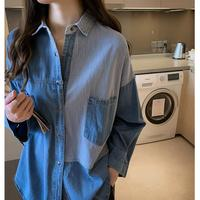 Denim Shirt Women's 2019 Autumn New Style Charade Long sleeve Blouse Very Fairy of Sense of Design Loose Fit Western Style Tops