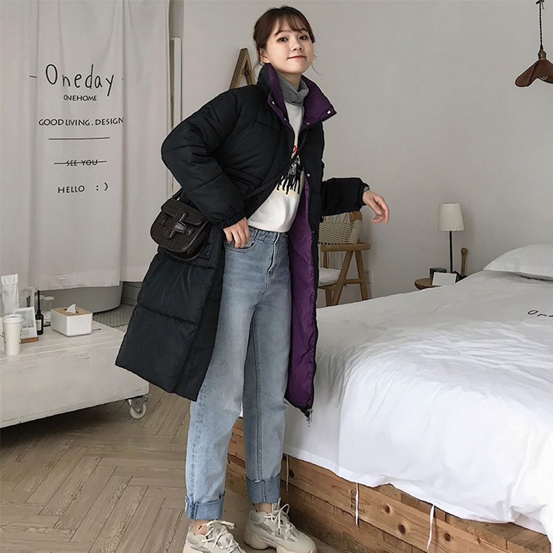 Women Long Patchwork Stand Collar Oversize Winter   Down     Coat   Student Thick Warm Jacket Cotton Padded Wadded Parkas Big Pocket