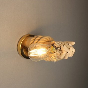 Nordic Henneptouw Wandlamp Hand 1