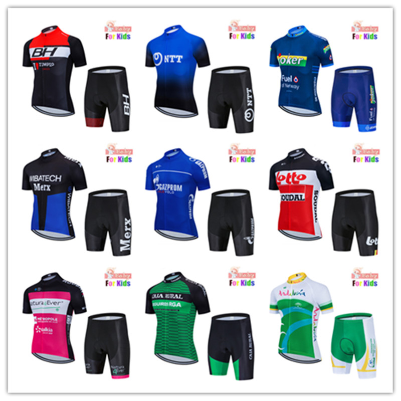 2020 Breathable NEW Kids Cycling Jersey Set Shorts Fluorescent Pink Children Bike Clothing Boys Girls Summer Bicycle Wear