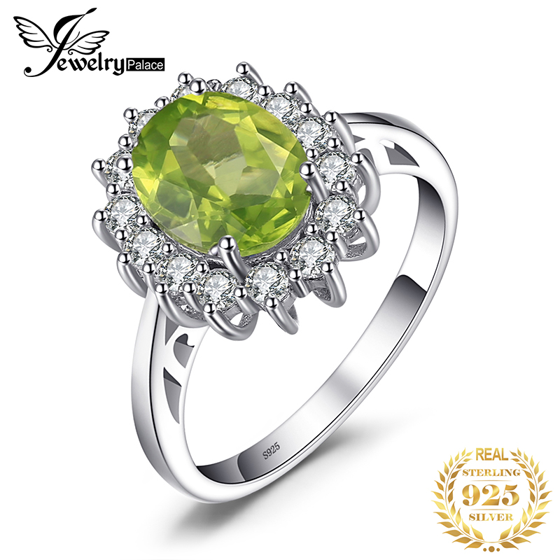 JewPalace Princess Diana Genuine Peridot Ring 925 Sterling Silver