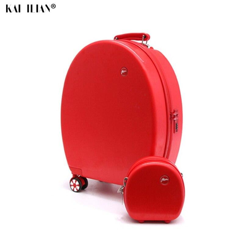 20''Rolling conjunto crianças mala de viagem com rodas de bagagem de viagem saco do trole da criança da menina cabine caixa de bagagem de mão Bonito dos desenhos animados bonito