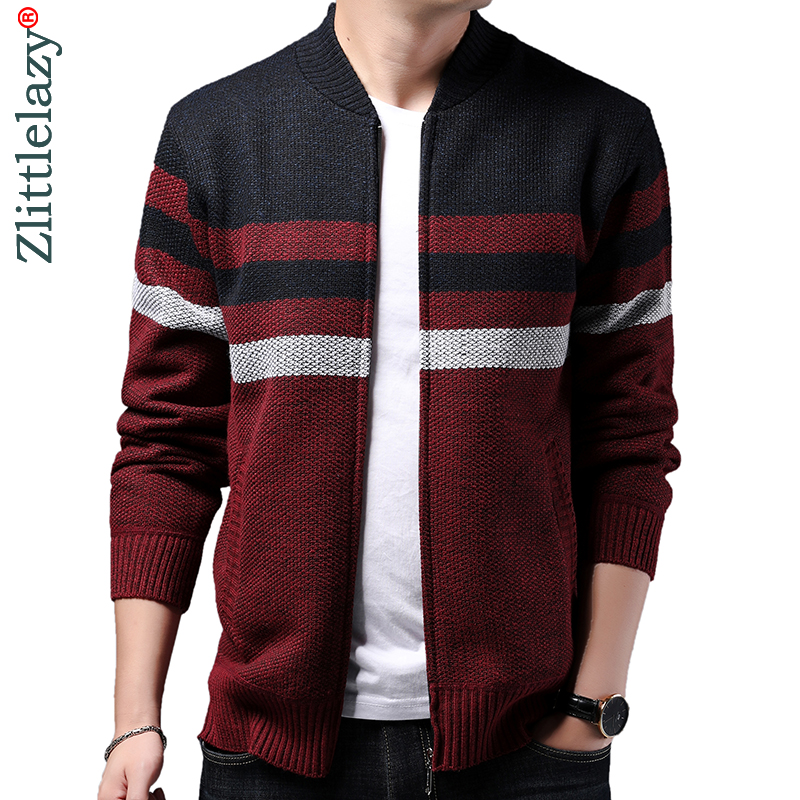 2019 Striped Thick Warm Winter Striped Knitted Cardigan Sweater Men Wear Jersey Dress Knit Mens Sweaters Coat Male Fashions 9310