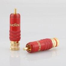 Audiocrast 4 adet R001 24K altın kaplama RCA fiş ses amplifikatörü adaptörü bağlayıcı DIY için ses kablosu HIFI