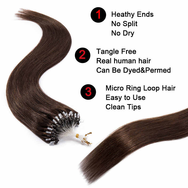 "SEGO 1g/s 50pcs Straight Micro Loop Ring Hair Extension With Micro Beads 100% Human Hair Non-Remy Hair 16""-24"" Natural Blonde"