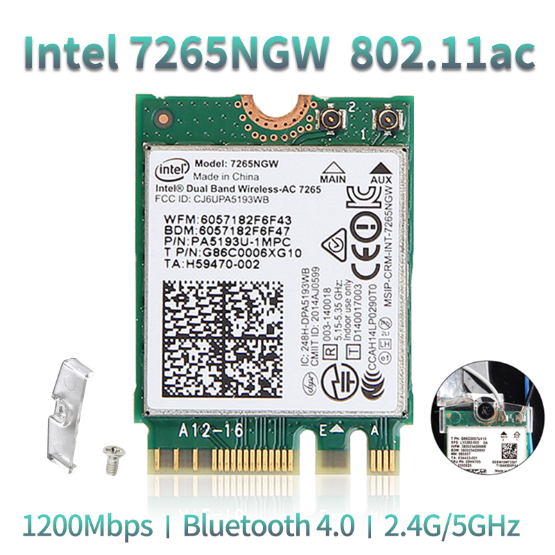 Dual Band Wireless-AC 867Mbps For Intel 7265 7265NGW 802.11ac 2x2 WiFi + Bluetooth BT 4.0 NGFF M.2 Wifi Network Card Laptop
