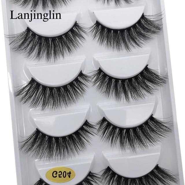 LANJINGLIN 1/3/5 pairs 3D mink hair false eyelashes natural long eye lashes wispy makeup eyelash extension sexy fake lash cilios 2