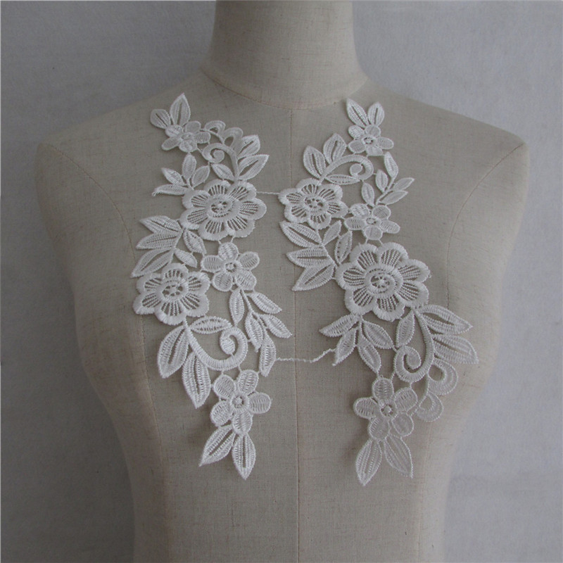 1 Pair Embroidery Sequins Lace Applique Lace Collar For Dress Costume DIY Sewing